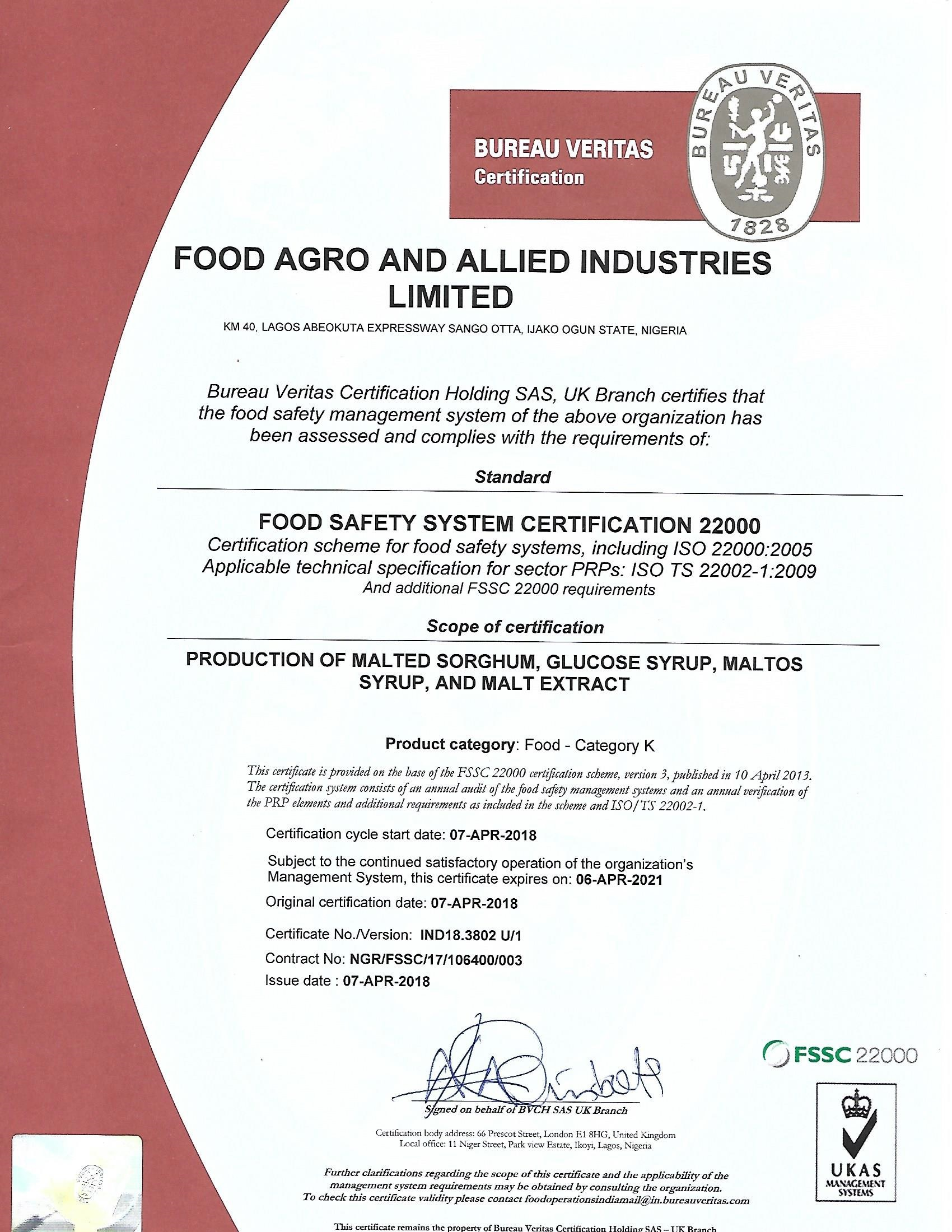FOOD AGRO AND ALLIED INDUSTRIES LTD  awarded FOOD SAFETY